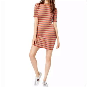 SOCIALITE Striped Mock-Neck Bodycon Dress M NWT